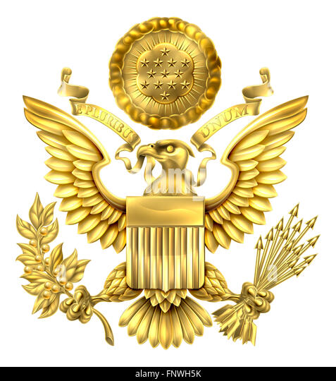 Gold Great Seal of the United States American eagle design with bald eagle holding an olive branch and arrows with - Stock Image
