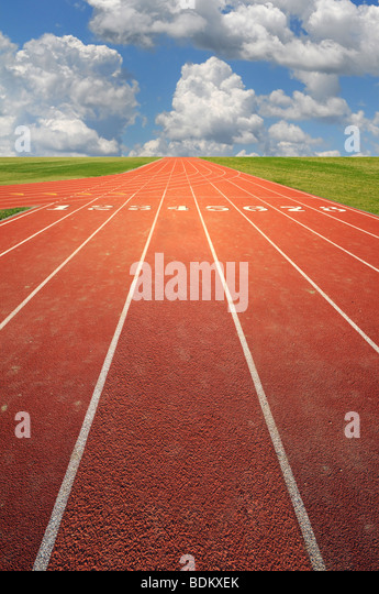 Olympic running track on a sunny day - Stock Image