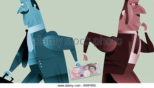 Businessman handing money behind his back - Stock Image