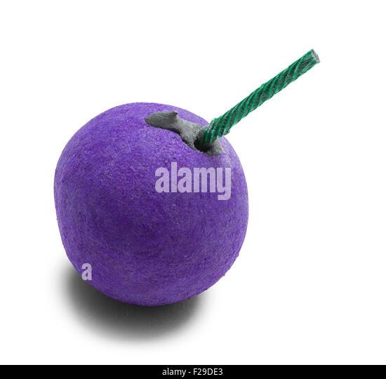 Purple Smoke Bomb and Fuse Isolated on White Background. - Stock Image