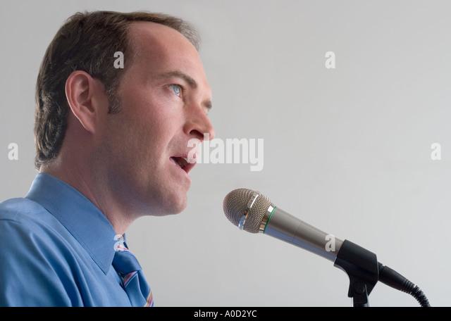 Announcer Talking Into Microphone Stock Photos & Announcer ...