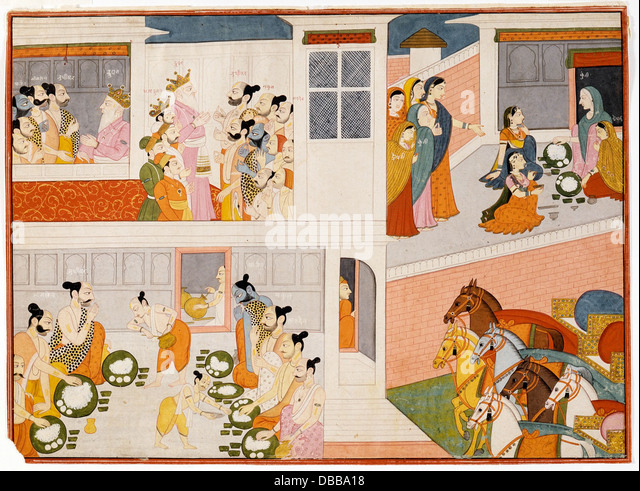 The Pandavas in King Drupad's Court, Folio from a Mahabharata ((War of the) Great Bharatas) AC1999.127.37 - Stock Image