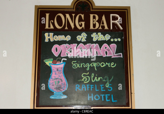 Sign for the Long Bar, Raffles Hotel, Singapore - Stock Image