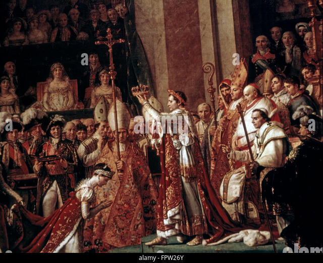 CORONATION OF JOSEPHINE BY NAPOLEON IN NOTRE DAME PARIS DECEMBER 2 1904 BY JEAN-LOUIS DAVID NEOCLASSICAL ARTIST - Stock-Bilder