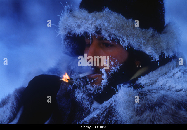 Winter in Yakutia Minus 50 degrees centigrade - Stock Image