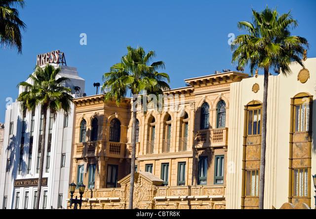 Hollywood Boulevard buildings at Universal Studios Orlando Florida - Stock Image
