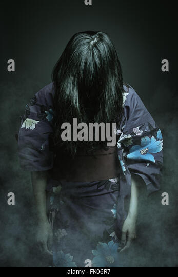 Japanese ghost in kimono dress . Horror and halloween - Stock-Bilder