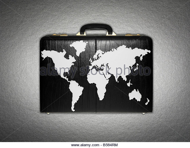 World map on briefcase - Stock Image