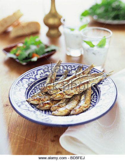 Fried anchovies (Hamsi, Turkish anchovy) - Stock Image