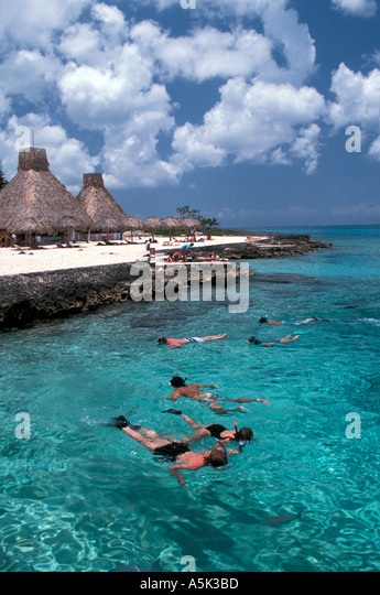 Mexico Cozumel snorkeling at Chankanaab National Park - Stock Image