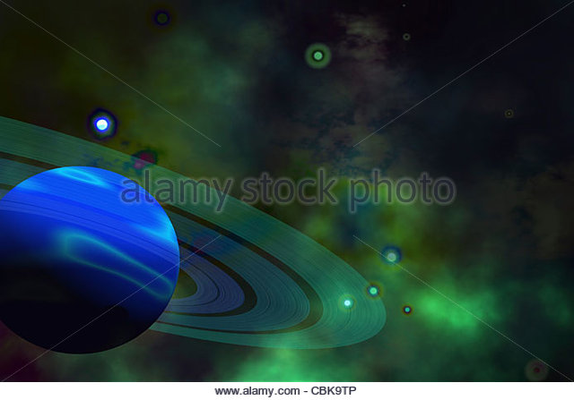 A blue ringed planet and nearby stars. - Stock-Bilder