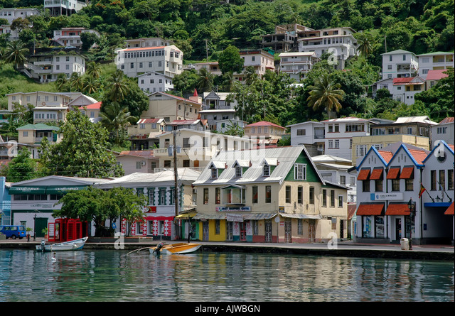 St George's grenada caribbean island capital city skyline scenic landscape - Stock Image