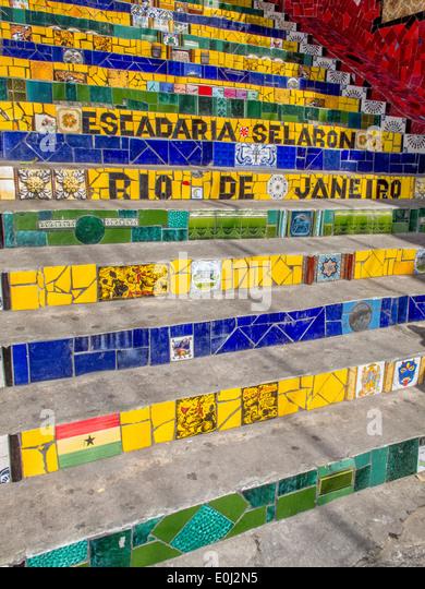 Rio de Janeiro, Stairway : Escadaria Selaron. - Stock Image