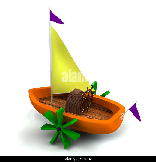 isolated toy up on boat white rowing boat sailing boat sailboat watercraft - Stock Image
