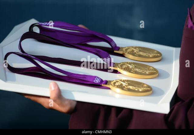 Olympic gold medals at the London 2012 Olympics, Sailing at the Weymouth & Portland Venue, Dorset, Britain, - Stock Image