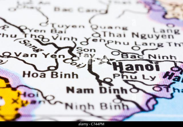 a close up shot of Hanoi on map, capital of vietnam. - Stock-Bilder