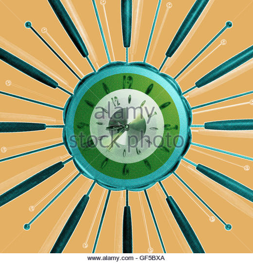 Starburst clock vintage retro mid century style photo illustration - Stock Image