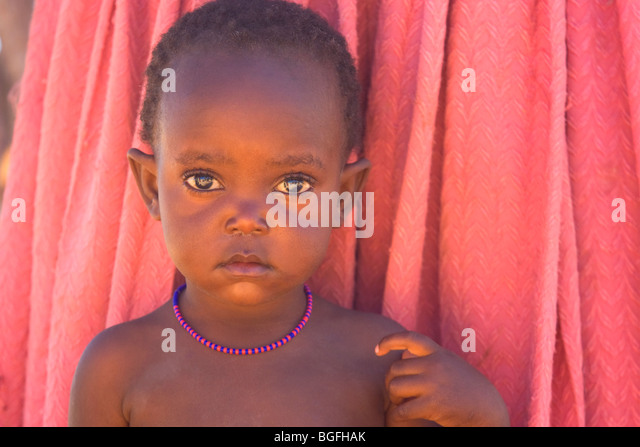 Child of the Herrero tribe, Namibia - Stock Image