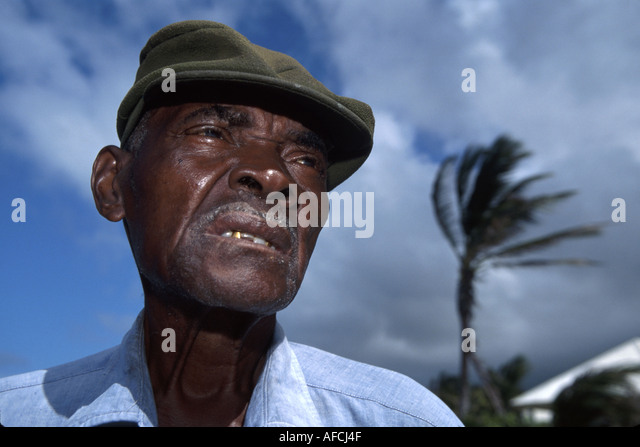 West Indies St. Kitts Dieppe Beach Black male fisherman hat - Stock Image