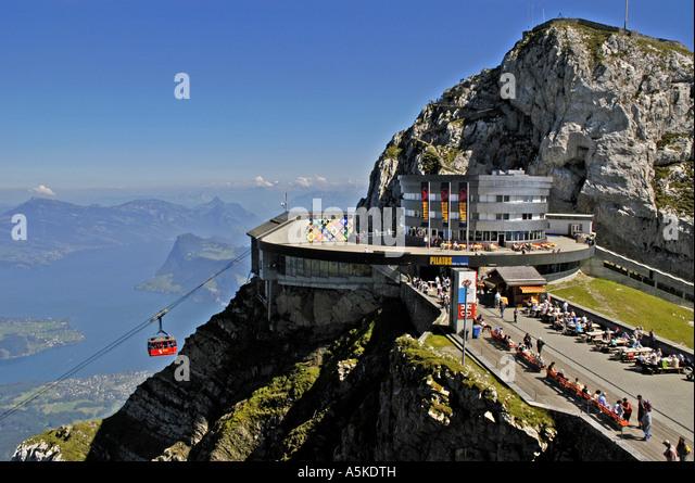 Lucerne Switzerland aerial gondola  railway station on Mount Pilatus - Stock Image