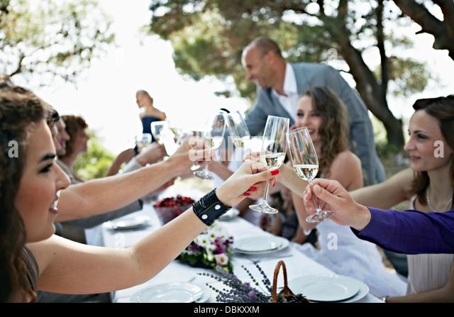 Wedding Celebration Outdoors, Croatia, Europe - Stock-Bilder
