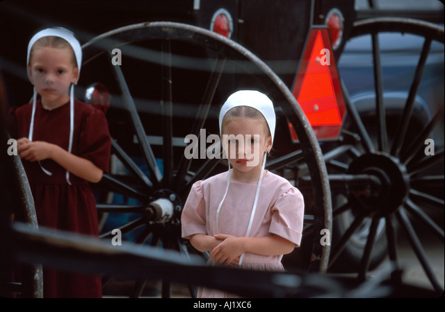 Ohio Apple Creek Johnny Appleseed Homecoming Festival activities world's largest Amish community here - Stock Image