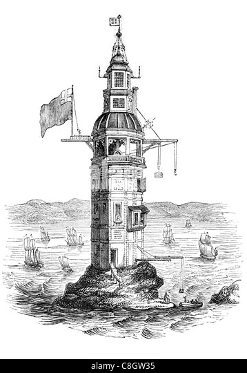 first Winstanley's lighthouse Eddystone Rocks octagonal wooden structure Henry Winstanley 1696 1698 French privateer - Stock Image