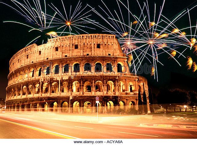 Italy Rome Colloseum at dawn fireworks composing  - Stock Image