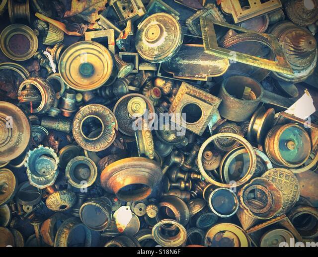 A pile of scrap metal parts. - Stock Image