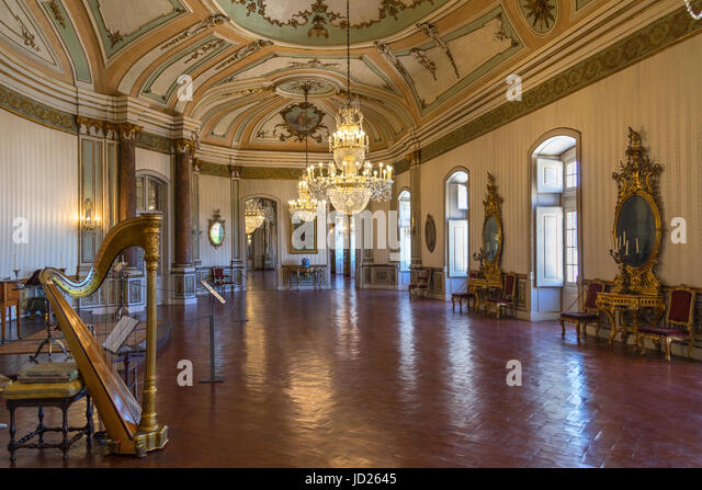 The National Palace of Queluz - Lisbon - Portugal. The Music Room, decorated in a neoclassical style, was the setting - Stock Image