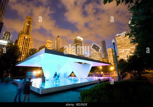 Public sculpture in Millennium Park Chicago Illinois - Stock Image