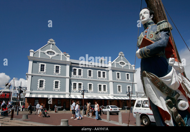south africa cape town Victoria Albert waterfront historical habour office building captains figurhead - Stock Image