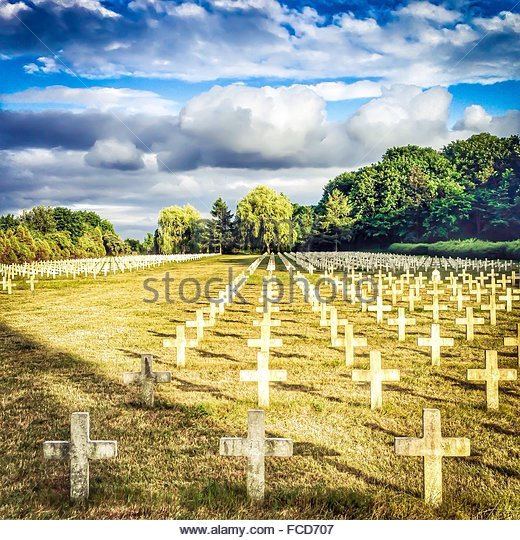 French Military Cemetery Against Cloudy Sky - Stock Image
