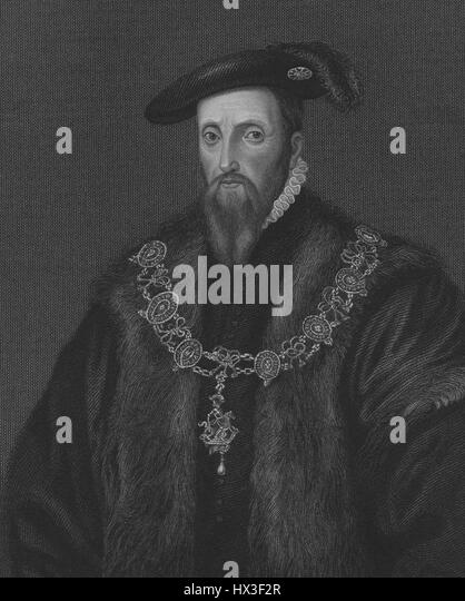 Portrait of Edward Seymour, Duke of Somerset and Lord Protector of England, 1535. From the New York Public Library. - Stock Image