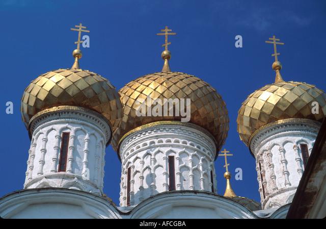 Russia former Soviet Union Kostrama Ipatyevsky Monastery Trinity Cathedral cupolas - Stock Image