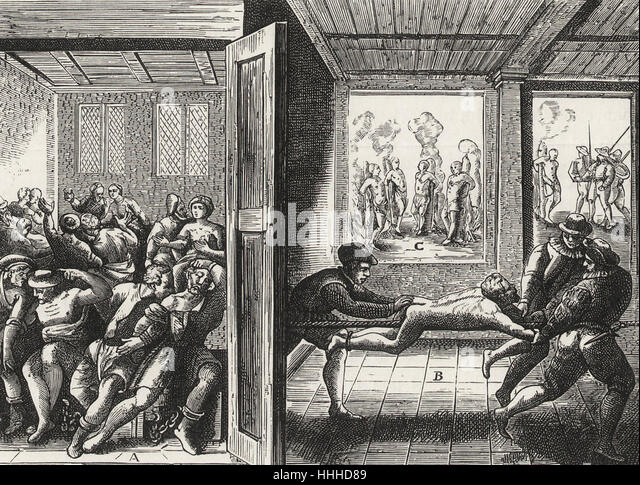 Tortures inflicted upon Catholics by the Hugenots in the South of France - Stock-Bilder