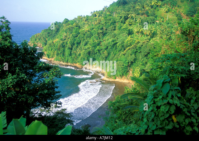 Dominica West Indies Caribbean East Coast Pagua Bay Overview - Stock Image