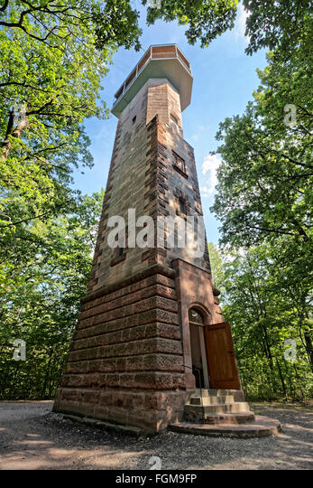Schmausenbuck tower with viewing platform, Lorenz Imperial forest, Nuremberg, Middle Franconia, Franconia, Bavaria, - Stock Image
