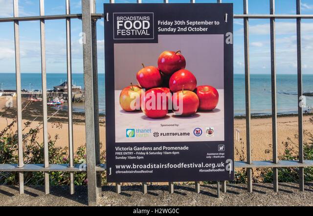 Broadstairs Food Festival Notice Promenade Broadstairs Kent September 2016 - Stock Image