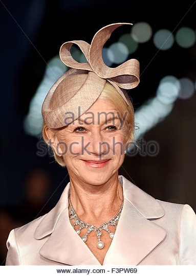 epa04969348 British actress/cast member Helen Mirren arrives for the premiere of 'Trumbo' at the 59th BFI - Stock Image