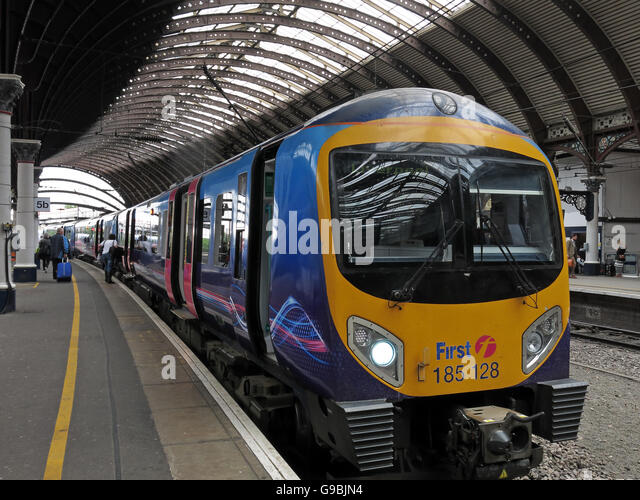 First Trans Pennine 185128 Class 185 at York Railway Station - Stock Image