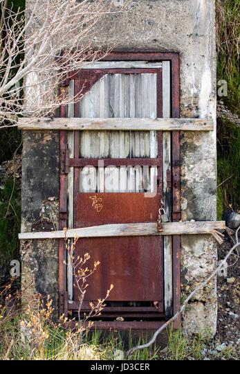 Weathered doorway in St. John's, Avalon Peninsula, Newfoundland, Canada - Stock Image