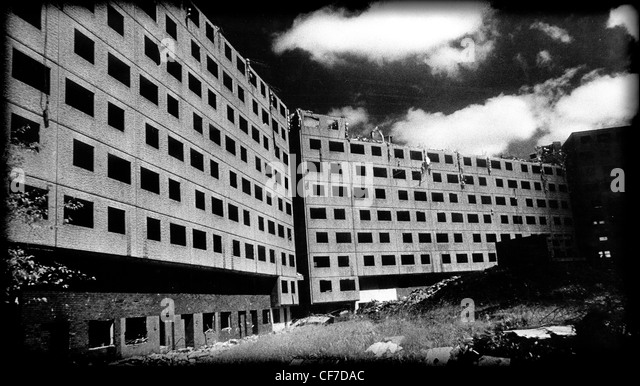 Concrete Deck Access Council Housing ready for demolition, East Manchester , Lancashire, England, UK with dramatic - Stock Image