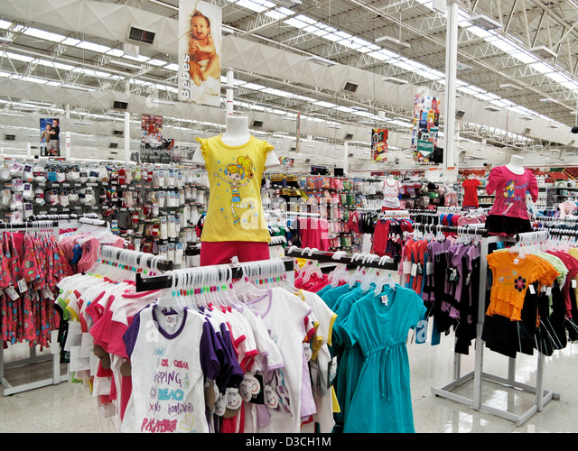 childrens clothing section in vast interior Soriana big box Mexican chain suprmarket chock full of consumer goods - Stock Image