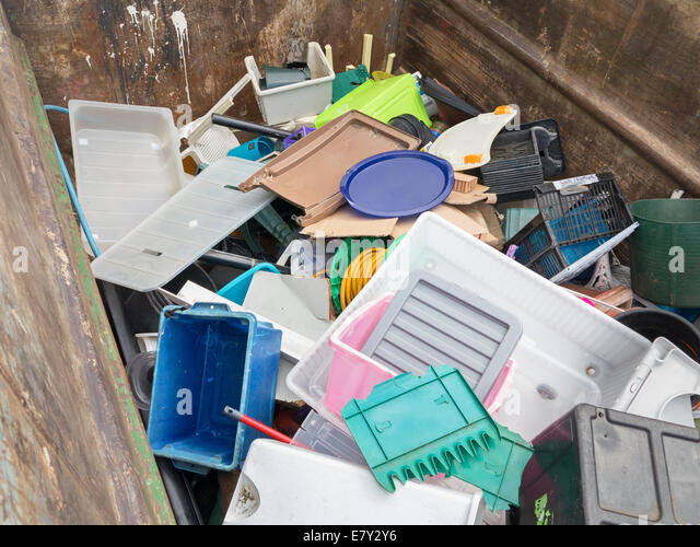 Local authority public recycling facility for mixed hard plastic, UK - Stock Image