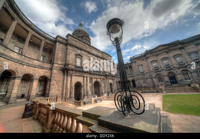Edinburgh University South College Lothian Scotland UK wide view with antique lamp - Stock Image