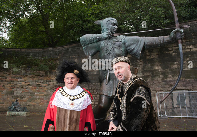 The Lord Mayor of Nottingham Mick Wildgust with The Sheriff of Nottingham Leon Unczur, Nottingham Castle, England, - Stock Image