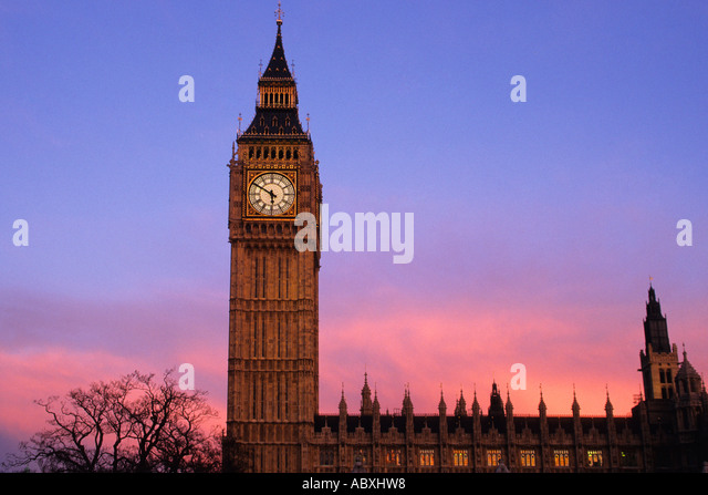England Great Britain United Kingdom London Parliament Square Big Ben and Houses of Parliament at Sunset Sandra - Stock Image