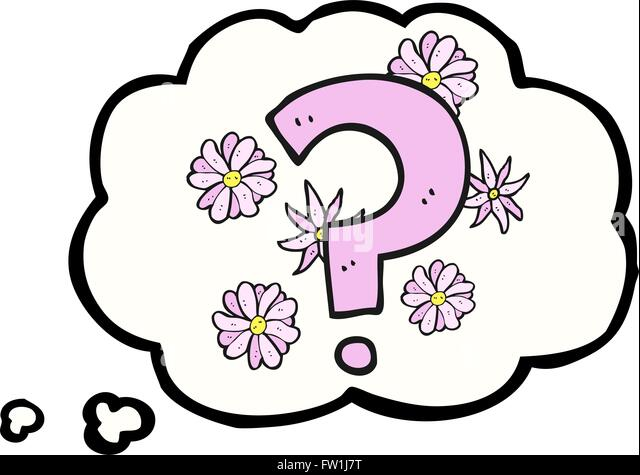 freehand drawn thought bubble cartoon question mark - Stock-Bilder