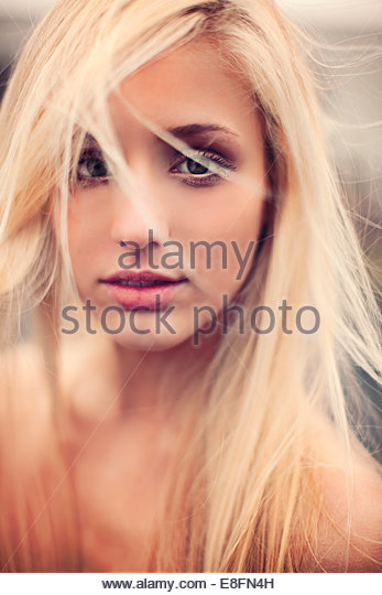 Beautiful blonde with wild hair - Stock-Bilder